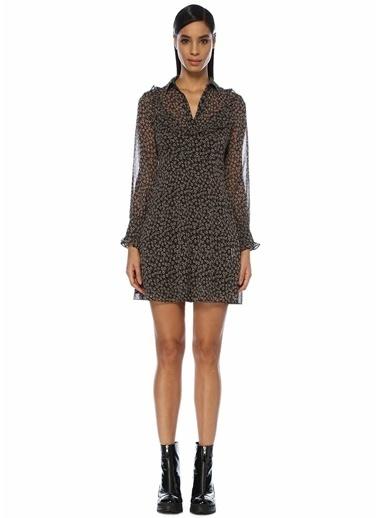 Beymen Club Çiçekli Fırfırlı Mini Şifon Elbise Siyah